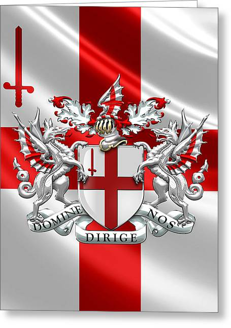 City Of London - Coat Of Arms Over Flag  Greeting Card by Serge Averbukh