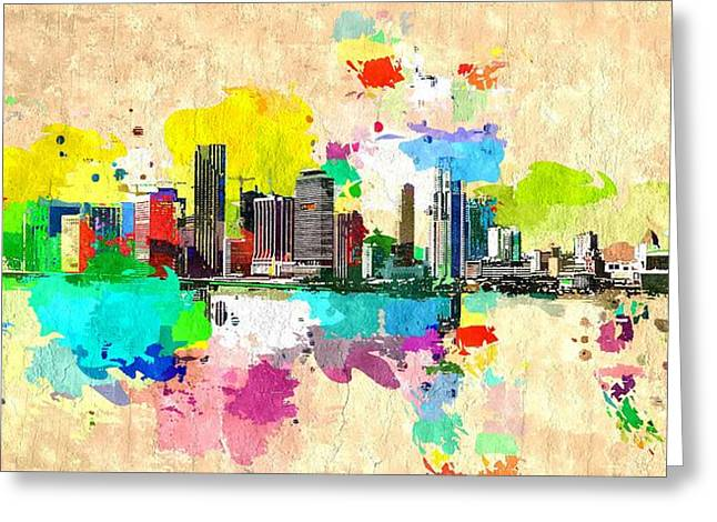 City Of Miami Grunge Greeting Card by Daniel Janda