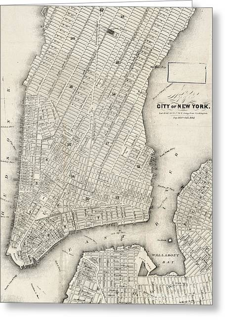 City Of New York Circ 1860 Greeting Card by Edward Fielding