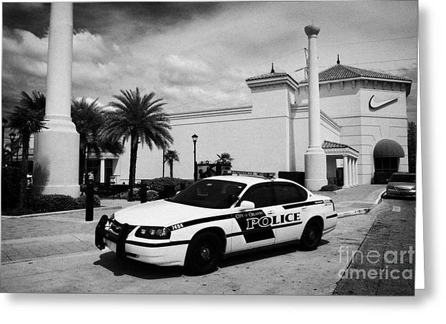 City Of Orlando Police Squad Patrol Car Outside A Shopping Mall In Florida Usa Greeting Card by Joe Fox