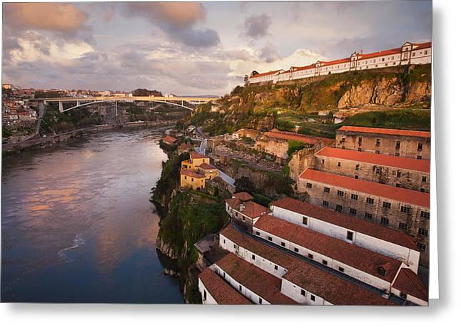 Vila Nova De Gaia And Porto At Sunset In Portugal Greeting Card