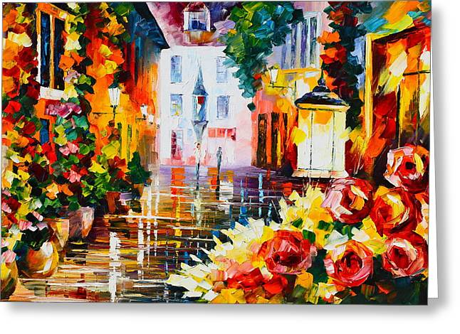 City Of Roses Greeting Card by Leonid Afremov
