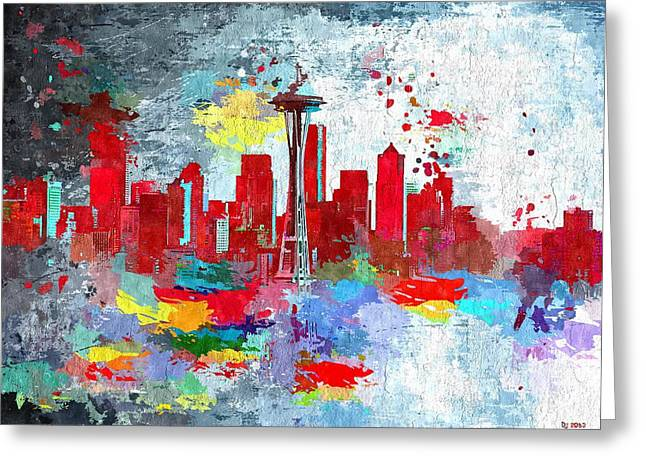City Of Seattle Grunge Greeting Card by Daniel Janda