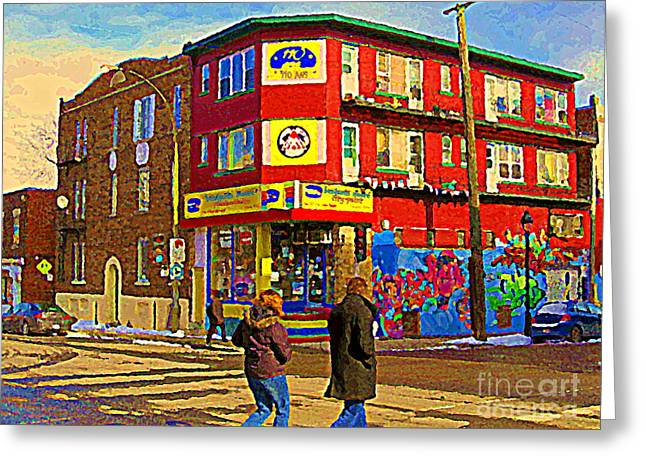 City Paint Benjamin Moore Rue Rachel And Hotel And De Ville Montreals Oldest Paint Store  C Spandau  Greeting Card by Carole Spandau