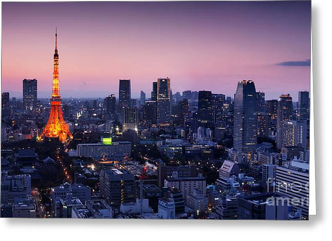 City Panorama With Tokyo Tower Illuminated In Twilight Greeting Card by Oleksiy Maksymenko