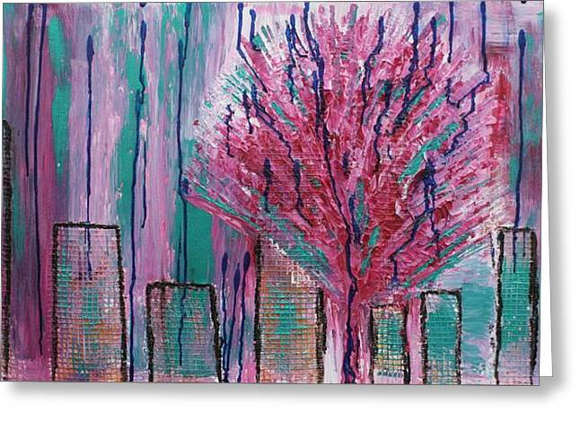 City Pear Tree Greeting Card