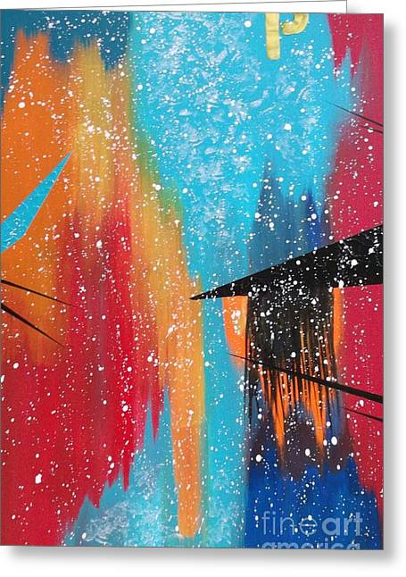 Greeting Card featuring the painting City Perspectives With A Broad Brush by Theresa Kennedy DuPay