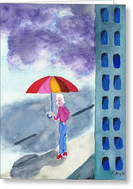 City Rain Greeting Card