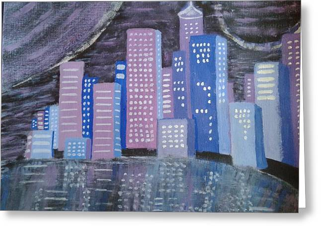 City Reflections Greeting Card by Erica  Darknell