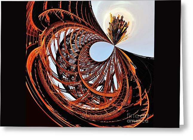 City Roller Coaster In The Sky Greeting Card