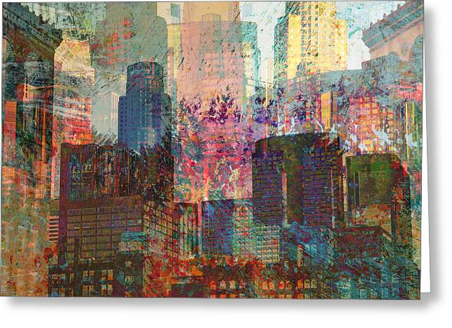 City Skyline Abstract Scene Greeting Card