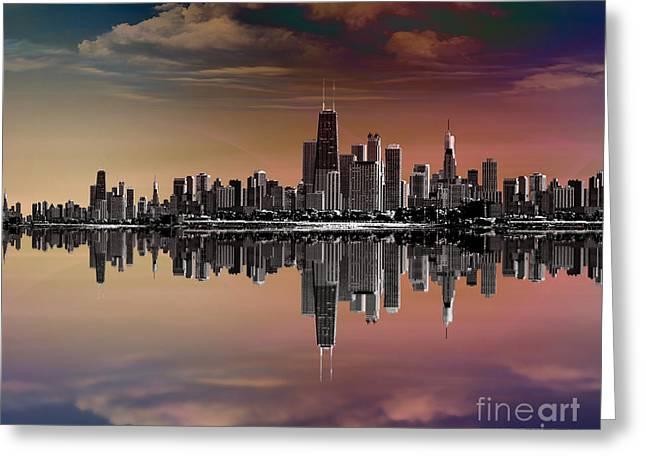 City Skyline Dusk Greeting Card