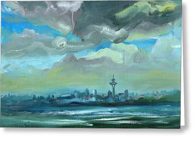 City Skyline Impressionist Painting Greeting Card