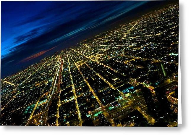 City Street Lights Above Greeting Card