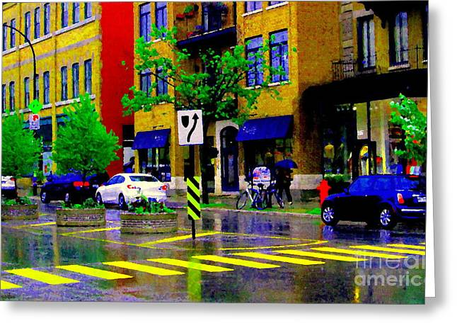 City Street Relections In The Rain Quebec Art Colors And Seasons Montreal Scenes Carole Spandau Greeting Card by Carole Spandau