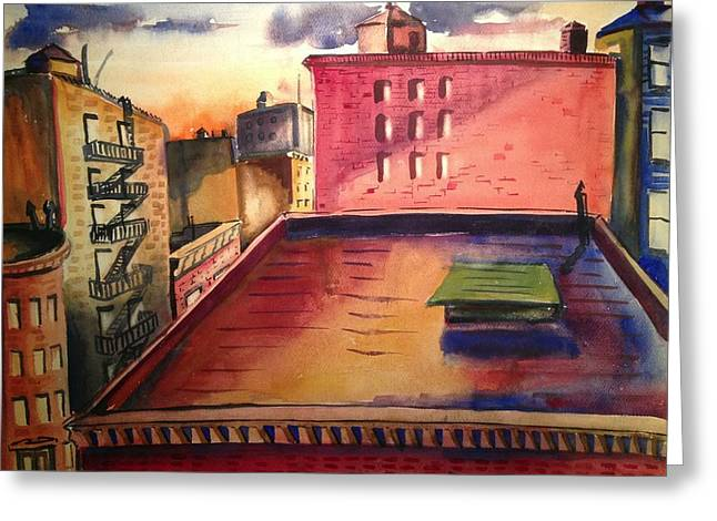 City Sunset Greeting Card by Maxwell Mandell