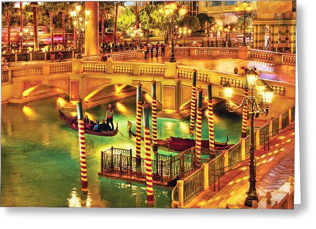 City - Vegas - Venetian - The Venetian At Night Greeting Card by Mike Savad
