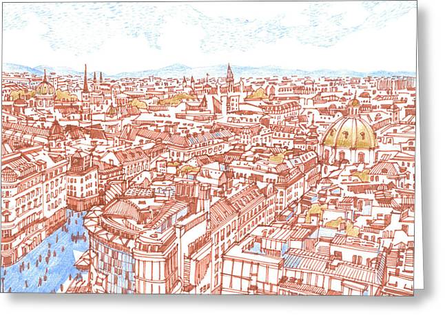 City. Vienna Greeting Card by Olga Sorokina