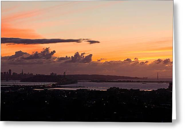City View At Dusk, Emeryville, Oakland Greeting Card by Panoramic Images