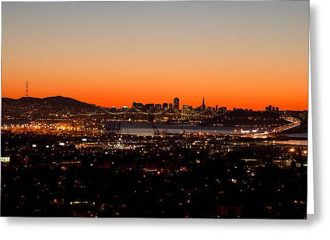 City View At Dusk, Oakland, San Greeting Card by Panoramic Images