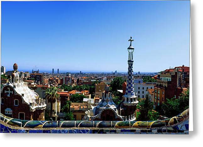 City Viewed From Park Guell, Barcelona Greeting Card