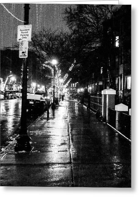 City Walk In The Rain Greeting Card