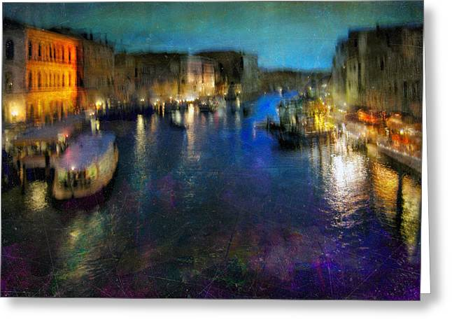 Greeting Card featuring the photograph Cityscape #19. Venetian Night by Alfredo Gonzalez