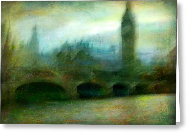 Greeting Card featuring the photograph Cityscape #31. Blue Angel's Dream by Alfredo Gonzalez