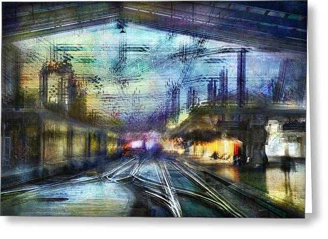Cityscape #37 - Crossing Lines Greeting Card by Alfredo Gonzalez