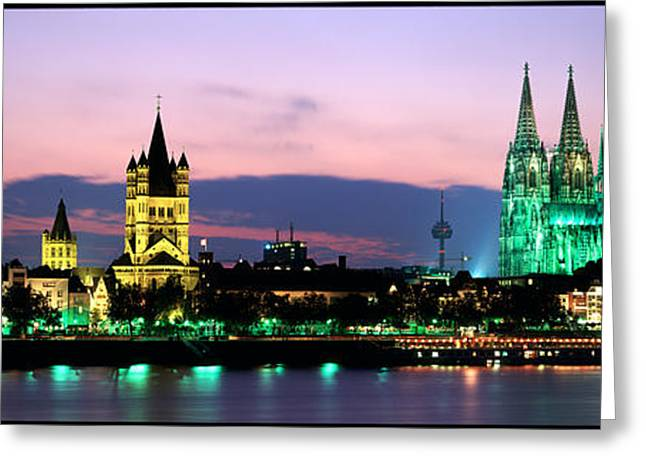 Cityscape At Dusk, Cologne, Germany Greeting Card by Panoramic Images