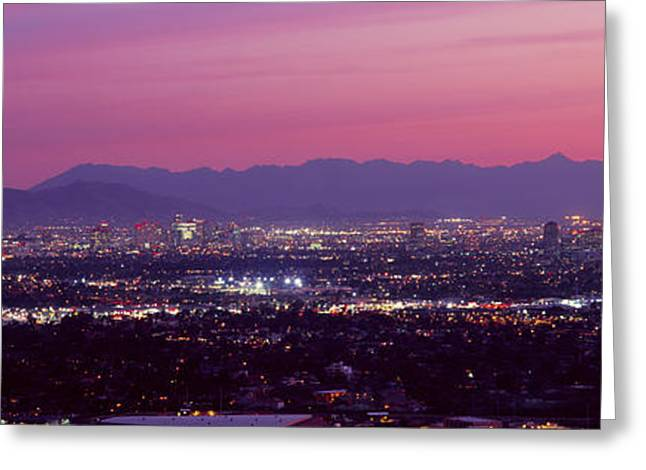 Cityscape At Sunset, Phoenix, Maricopa Greeting Card