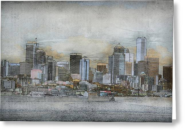 Greeting Card featuring the digital art Cityscape by Davina Washington