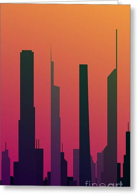 Cityscape Design Orange Version | Eps10 Greeting Card