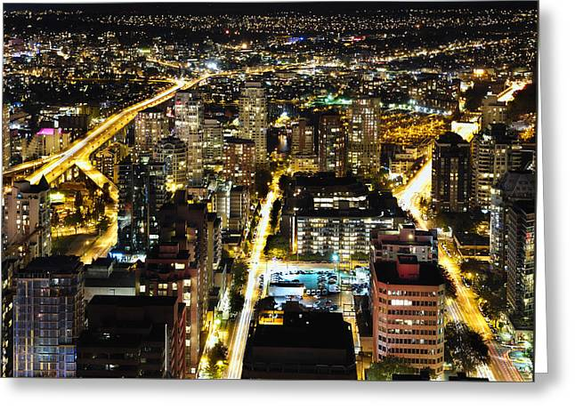 Greeting Card featuring the photograph Cityscape Golden Burrard Bridge Mdlxiv by Amyn Nasser