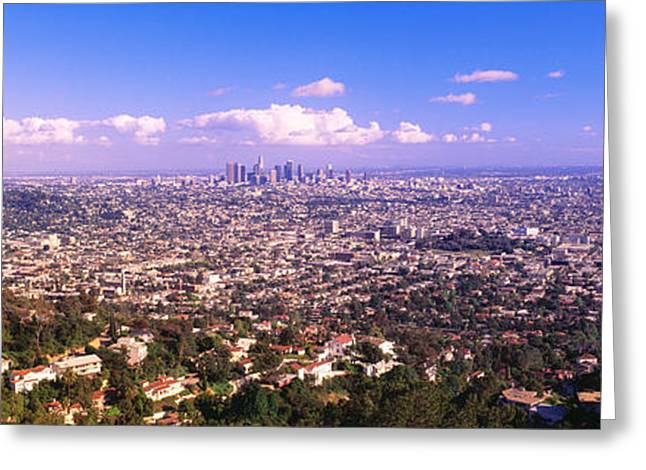 Cityscape, Los Angeles, California, Usa Greeting Card by Panoramic Images