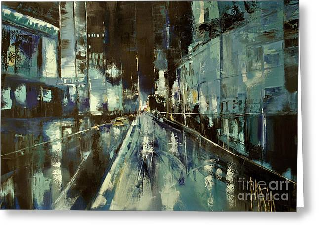 Greeting Card featuring the painting Cityscape by Maja Sokolowska
