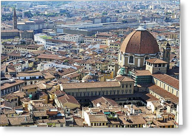 Cityscape Of Florence Greeting Card by Sami Sarkis