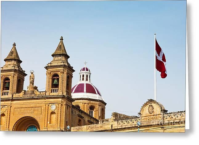 Cityscape Of Marsaxlokk Malta Greeting Card