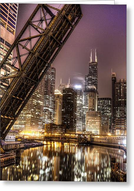 Cityscape Reflection In Chicago River March 2014 Greeting Card by Michael  Bennett