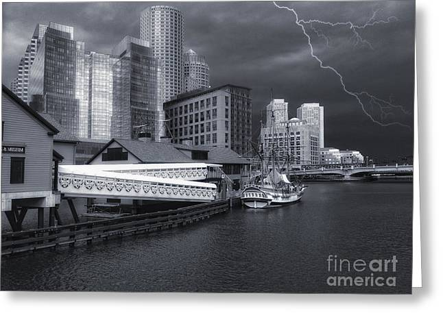 Greeting Card featuring the photograph Cityscape Storm by Gina Cormier