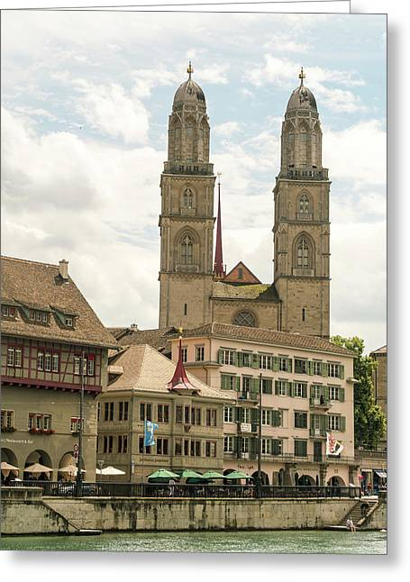 Cityscape With Grossmunster Church Greeting Card