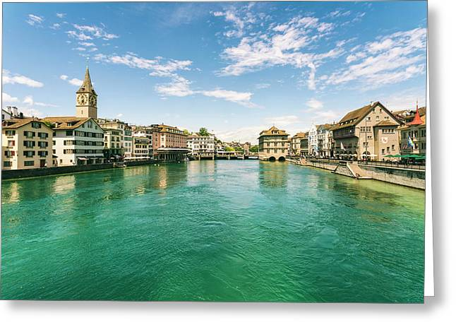 Cityscape With Old Town And Limmat Greeting Card