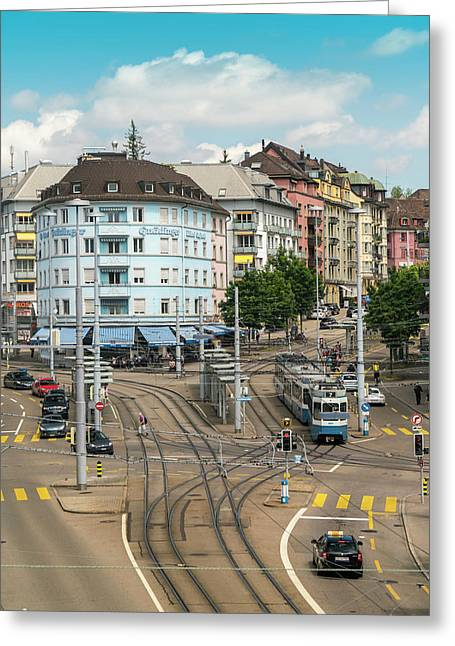 Cityscape With Schaffhauser Square Greeting Card