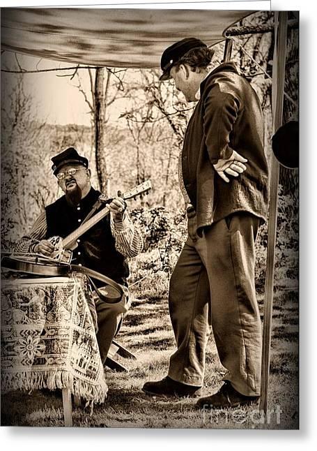 Civil War Banjo Player Greeting Card by Paul Ward