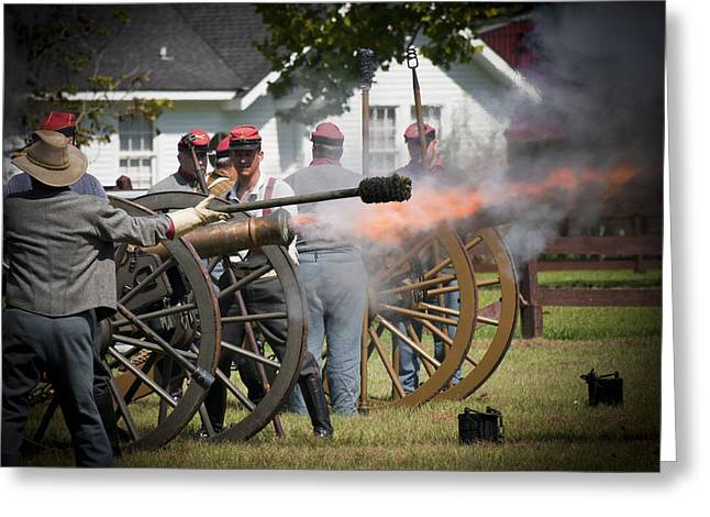 Greeting Card featuring the photograph Civil War Cannon Fire by Ray Devlin
