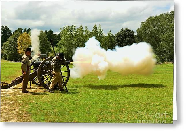 Civil War Canon Firing  Greeting Card by Bob Sample