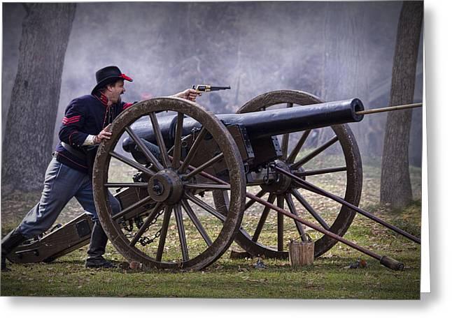 Civil War Reenactor Firing A Revolver Greeting Card by Randall Nyhof