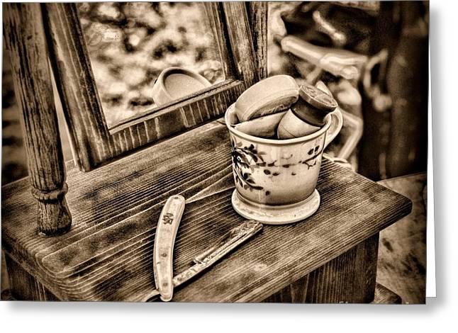 Civil War Shaving Mug And Razor Black And White Greeting Card by Paul Ward