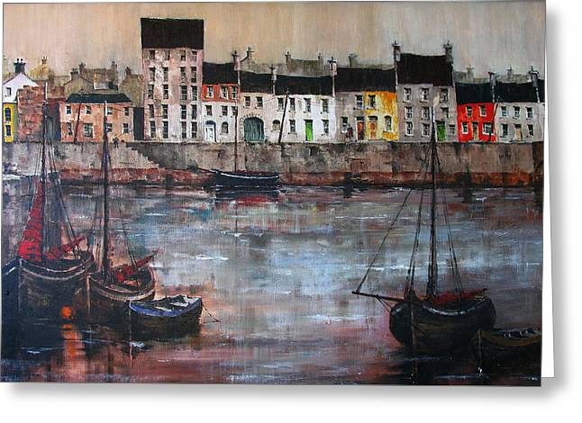 Cladagh Harbour In Galway Greeting Card