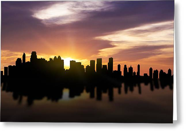 Calgary Sunset Skyline  Greeting Card by Aged Pixel
